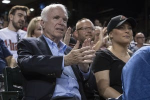 Senator John McCain, and his daughter Meghan McCain attend the Arizona Diamondbacks and Los Angeles Dodgers game on Thursday, Aug. 10, 2017 at Chase Field in Phoenix, Ariz.