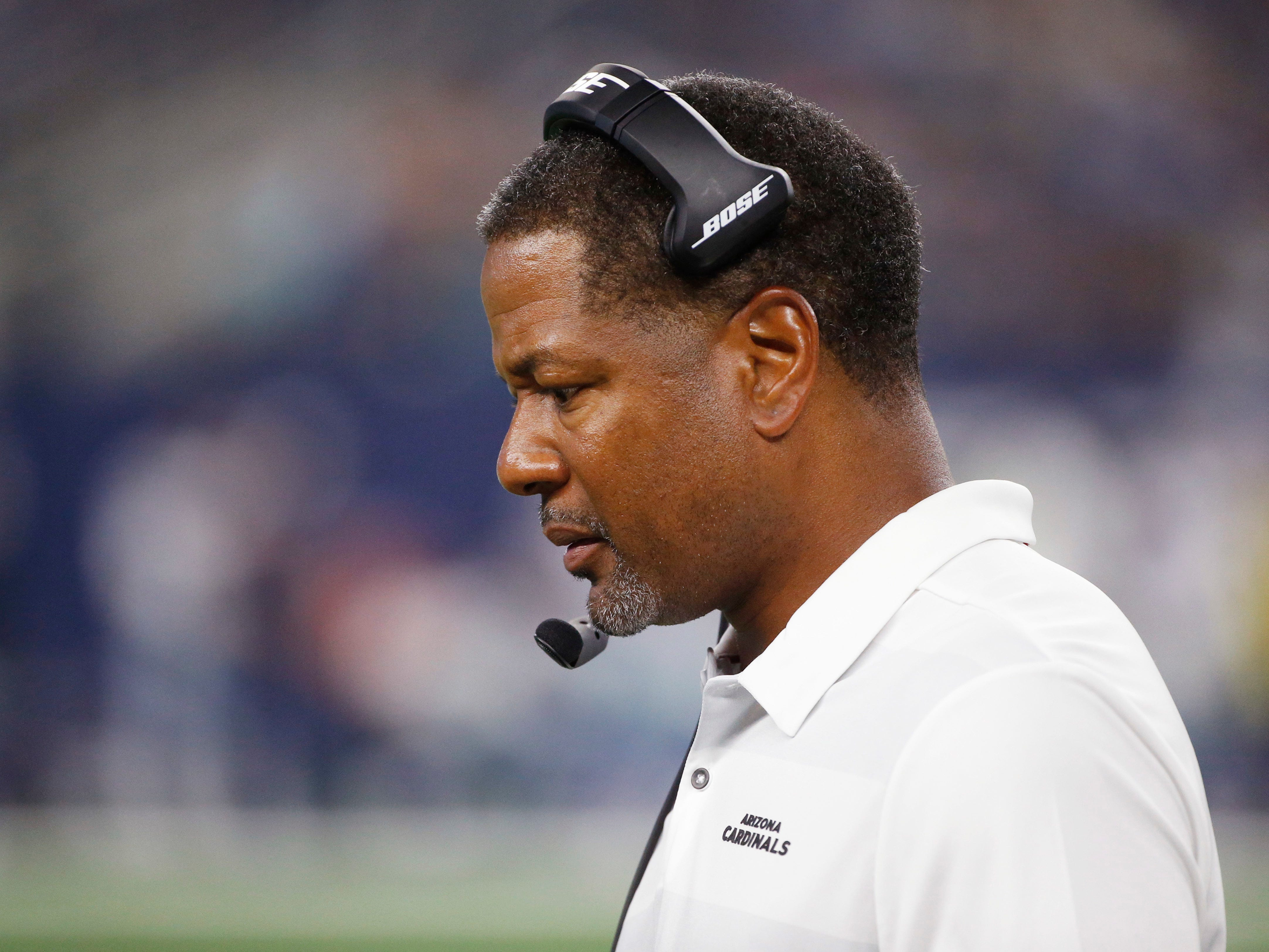 Arizona Cardinals head coach Steve Wilks looks on during the first half of a preseason NFL football game against the Dallas Cowboys in Arlington, Texas, Sunday, Aug. 26, 2018. (AP Photo/Michael Ainsworth)