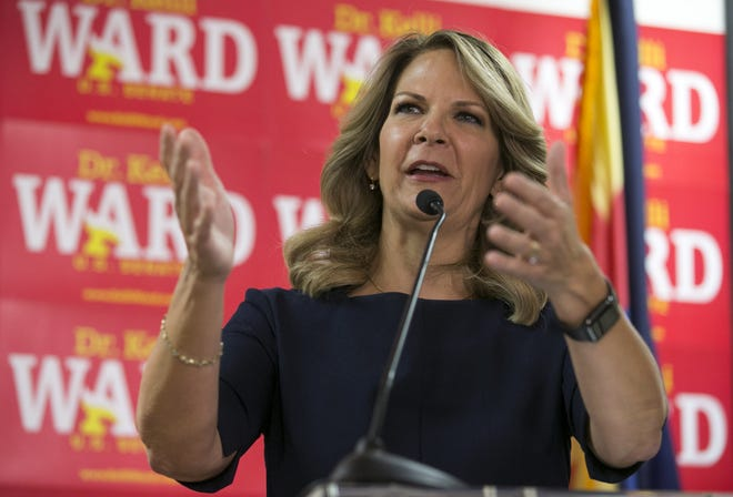 Dr. Kelli Ward, who is vying for the GOP U.S. Senate nomination, addresses the media at her campaign headquarters, in Tempe on Aug. 27, 2018.