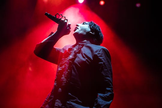 Marilyn Manson performs at Ak-Chin Pavilion in Phoenix, Sunday, Aug. 26, 2018.