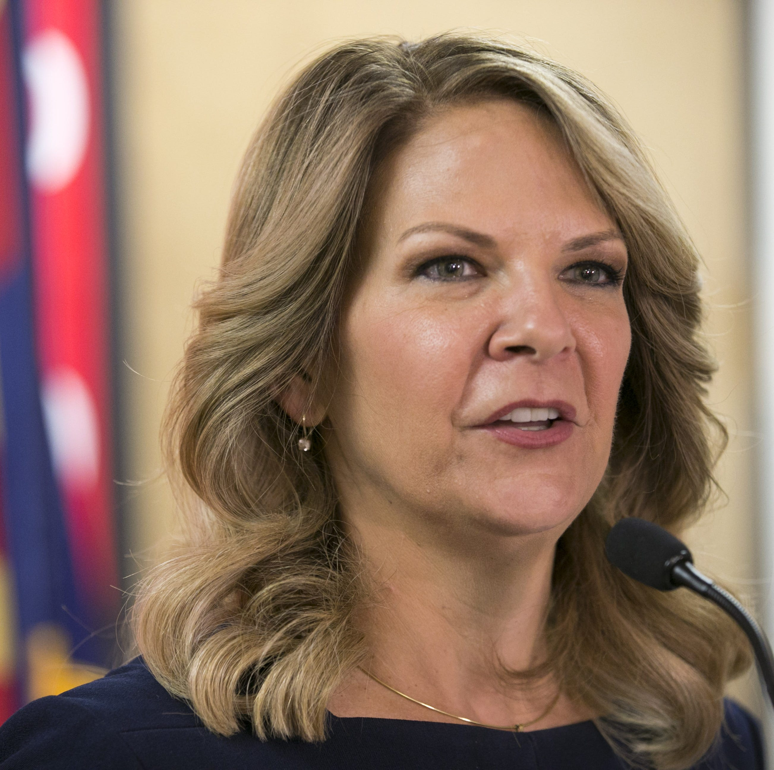 Dr. Kelli Ward, who is vying for the GOP U.S. Senate nomination, addresses the media at her campaign headquarters in Tempe on Aug. 27, 2018.