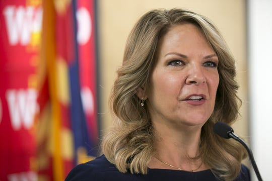 Kelli Ward speaks to the media in 2018.