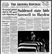 The front page of The Arizona Republic featuring coverage of Carl Hayden's funeral, Jan. 30, 1972.