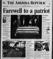 The front page of The Arizona Republic featuring coverage of Barry Goldwater's funeral, June 4, 1998.