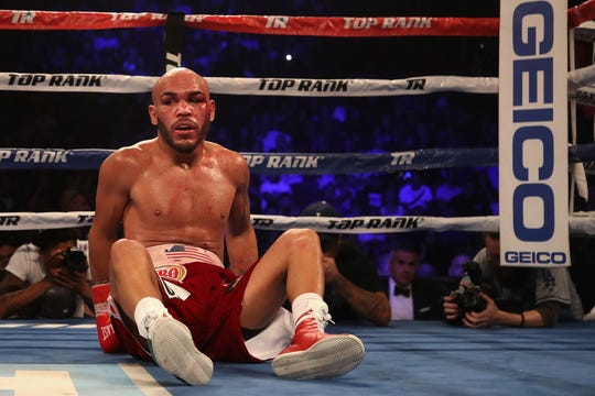 Ray Beltran reacts after a knock down during Saturday's fight at Gila River Arena in Glendale.
