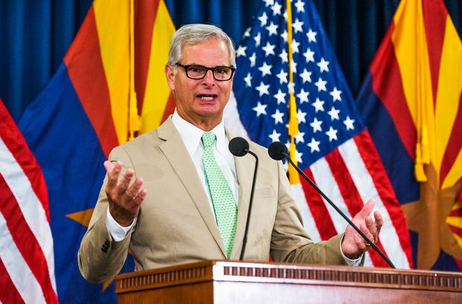 Rick Davis, Sen. John McCain's former campaign manager and a McCain family spokesman, read the final letter from John McCain to America during a press conference at the Capitol in Phoenix, Aug. 27, 2018.