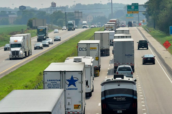 Southbound traffic backs up on Interstate 81 approaching Exit 14 on Monday, August 27, 2018. Pennsylvania Department of Transportation crews are repairing the concrete on a bridge that carries the interstate over a railroad just south of Exit 14 (Pa. 316/Wayne Avenue). The southbound lane will be closed as work is carried out through Thursday, and then again next Wednesday, Sept. 5 and Thursday, Sept. 6.
