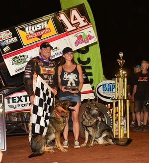 Tony Stewart is shown after winning at BAPS Motor Speedway in northern York County on Sunday night.