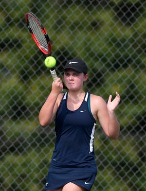 Dallastown's Morgan Kistler, above, teamed with Meghan Salaga to win the York-Adams League Girls' Tennis Class 3-A Doubles Championship on Tuesday evening. DISPATCH FILE PHOTO