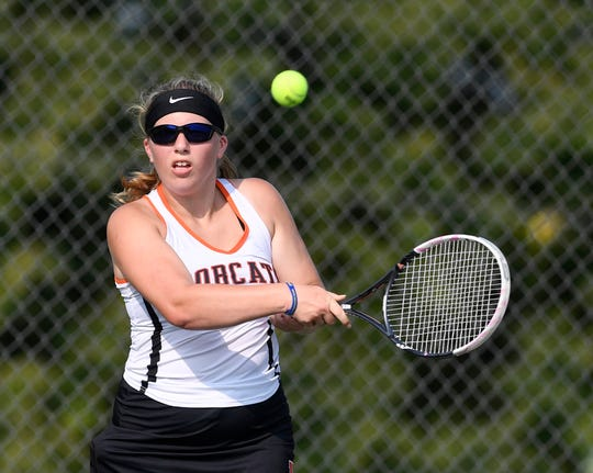 Northeastern's Jillian Laughman, seen here in a file photo, earned a straight-set singles victory for the Bobcats on Thursday against Spring Grove.