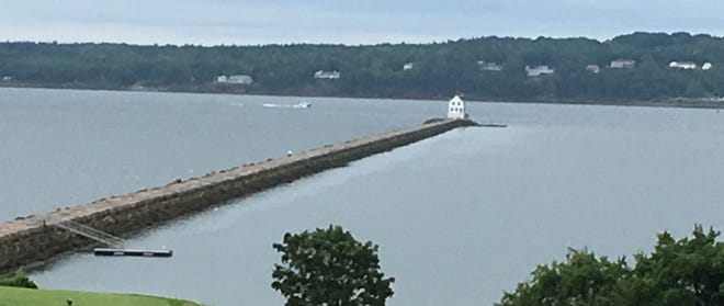 It is almost a mile from the shore to the Rockland Breakwater Lighthouse.