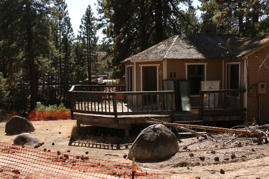 A cabin at the Cal Neva Lodge & Casino is seen along the north shore of Lake Tahoe on Aug. 23, 2018.