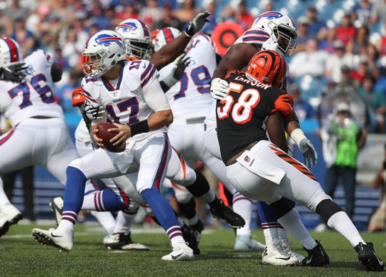 Josh Allen tries to escape pressure from the Bengals defense during a preseason game on Aug. 26.  He was sacked five times in the first half.