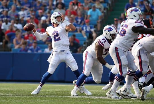 Bills quarterback Nathan Peterman looks deep against the Bengals.