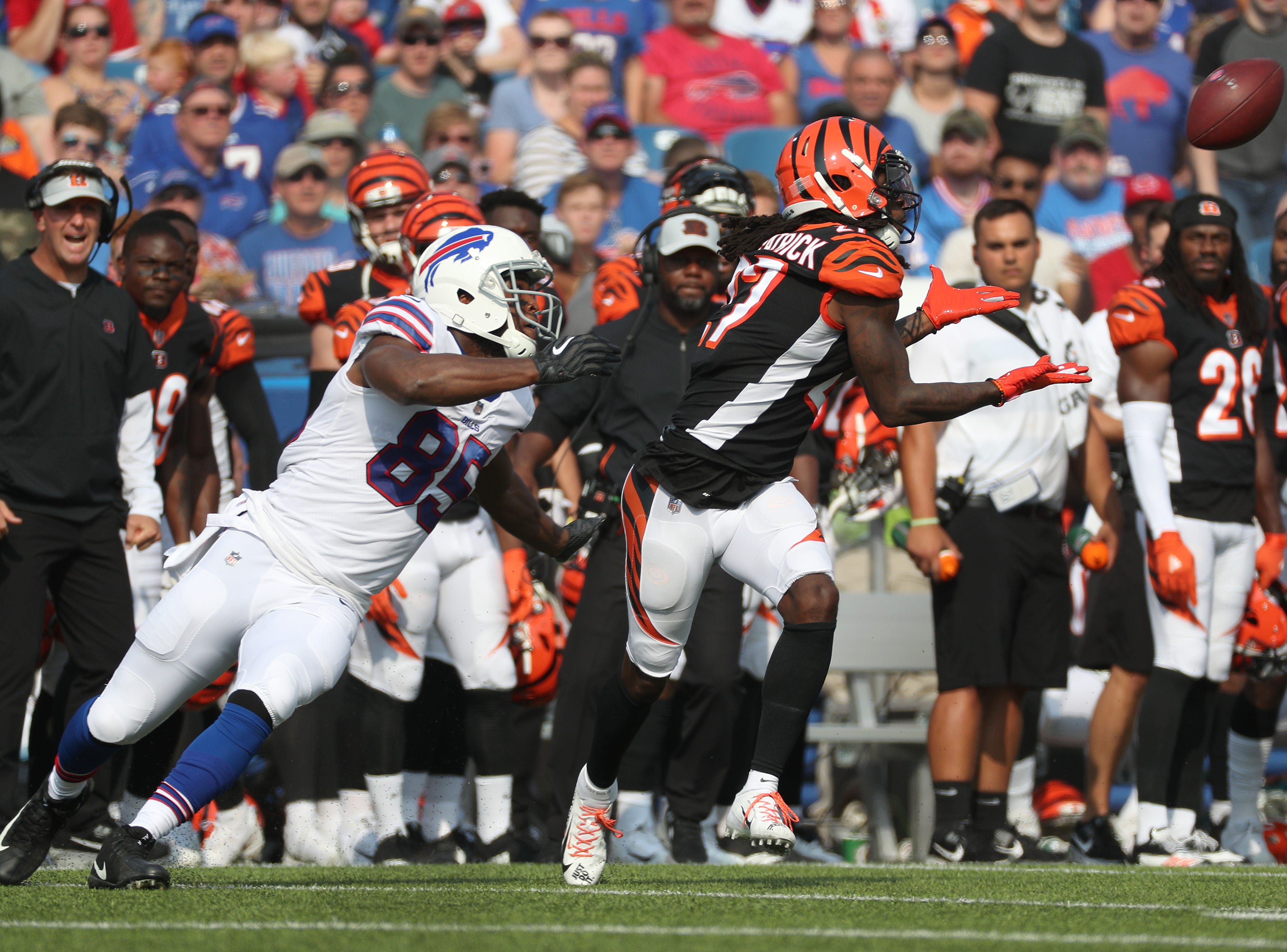 Bengals cornerback Dre Kirkpatrick steps in front a pass intended for Bills Charles Clay.  Kirkpatrick couldn't hold onto the pass which fell incomplete.