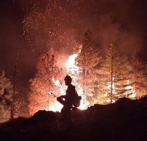 Night operations on the Klondike Fire August 23.