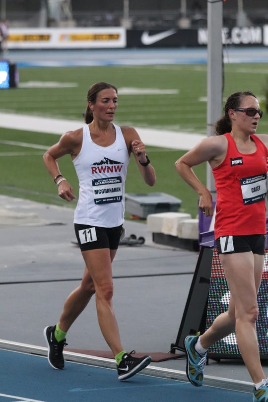 Lydia McGranahan competes during the 20K race walk competition earlier this summer at the U.S. Outdoor Championships in Des Moines, Iowa.