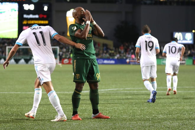 Portland Timbers forward Samuel Armenteros (99) reacts after missing a shot on goal against the Seattle Sounders in the second half at Providence Park.