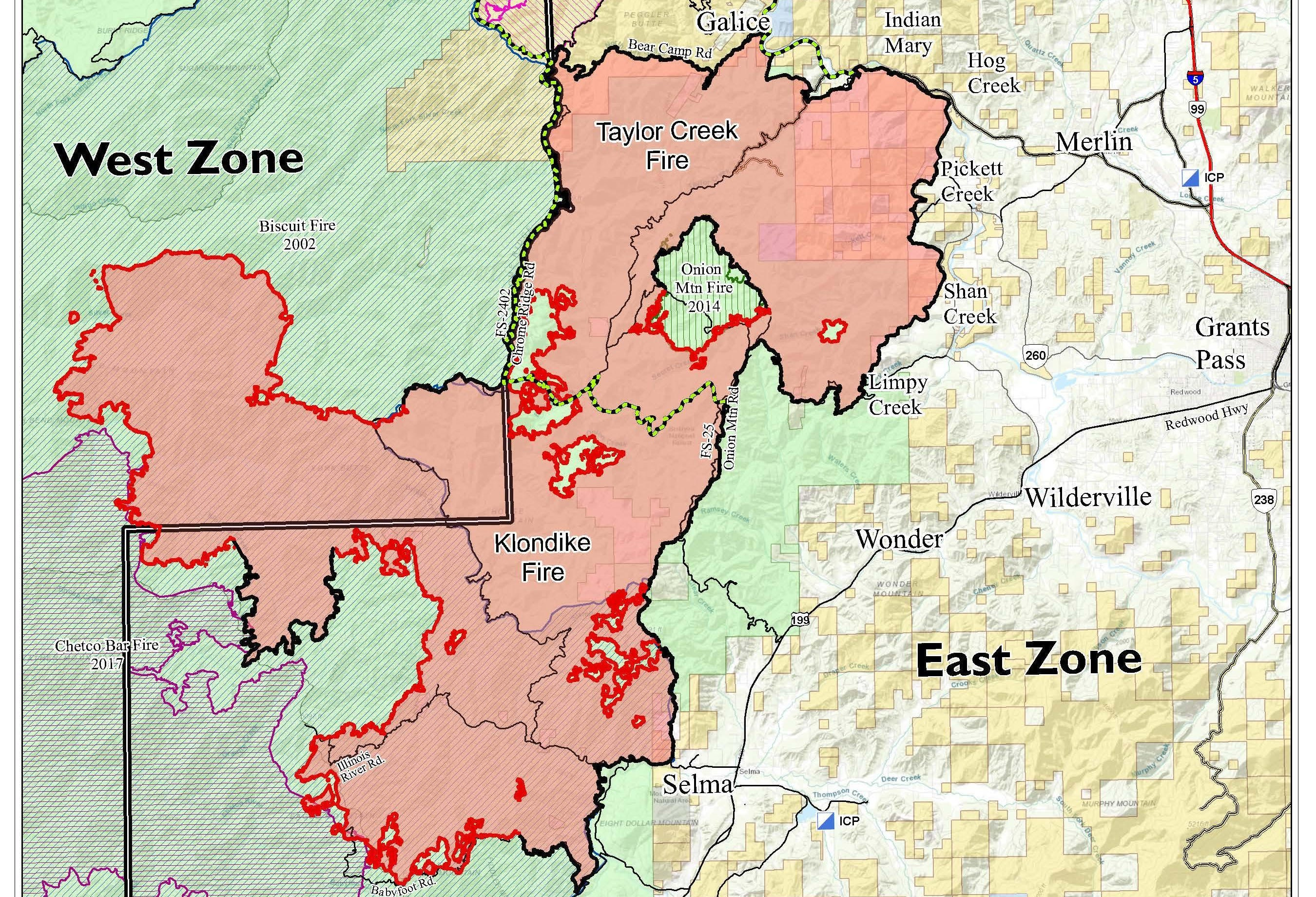 Boundary of the Klondike and Taylor Creek Fires as of Monday, August 27.