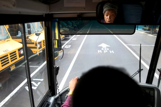 Jeannetta Cook trains to be a bus driver for Salem-Keizer Public Schools in Salem on Monday, Aug. 27, 2018. Classes begin Sept. 4 and 5.