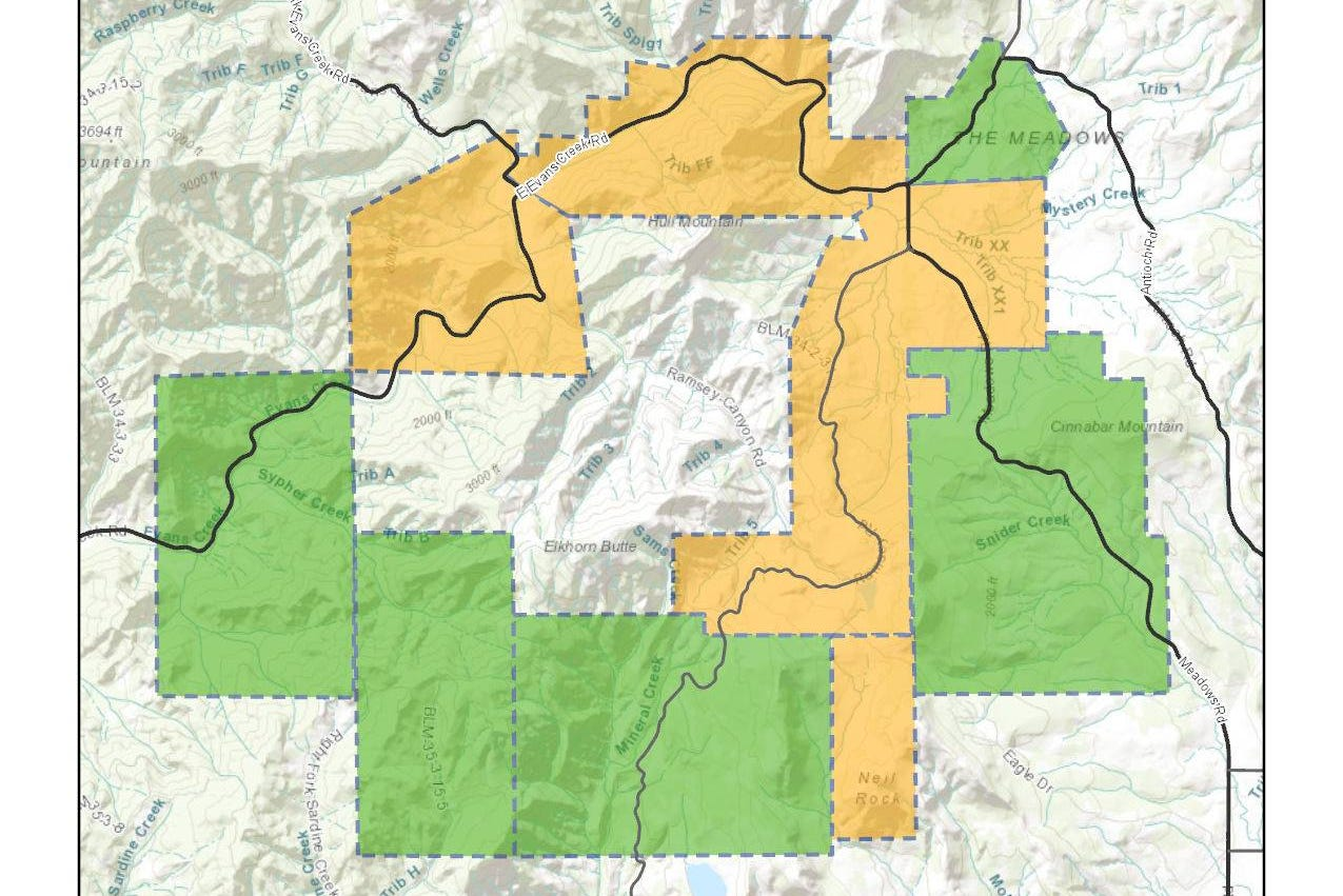 Ramsey Canyon Fire evacuation area as of Friday, August 24. Yellow = Level 2, Green = Level 1.