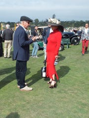 Cindy Stewart of Edmund, Okla. began preparing what ensemble to wear to the 68th annual Pebble Beach Concours by commissioning a one-off hat from a designer in Oregon. Her husband Bill Stewart has dressed off the rack for the annual event for 20 years, but Cindy chose a Stella McCartney creation to wear on the `18th fairway Sunday at the Pebble Beach Golf Links. The annual display of fine automobiles has grown into a rolling fashion show of attendees who often vie with the fine automobiles for attention.