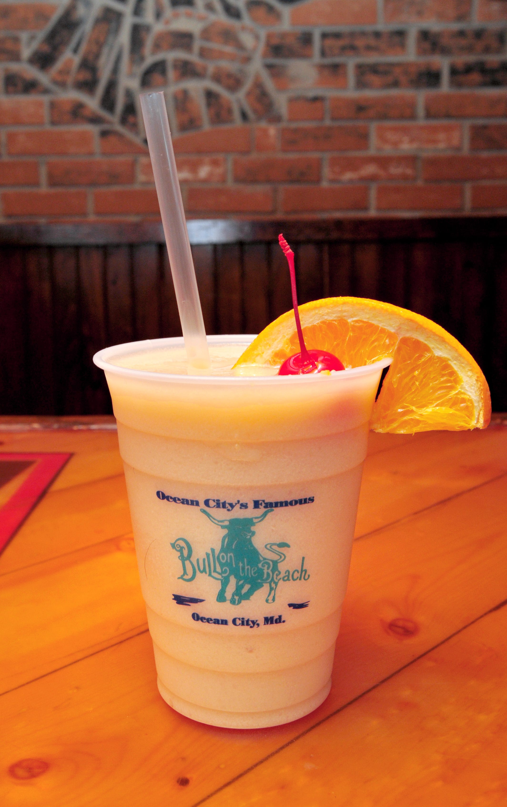 Bull on the Beach's Raging Bull, made with pina colada, Dark Jamaican Rum, and a 151 floater.