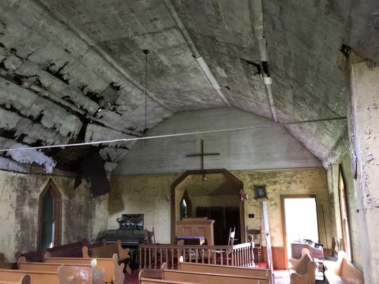 The interior of historic Bazzel Church is largely intact, although in dire need of repair and restoration.