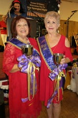 Krewe Elders Captain for 2019 Wanda Cunningham and Co-Captain Julia Collins at the Royalty Coronation.