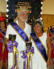 Krewe Elders King XXI Doug Rivet and Queen Connie Rivet meet their subjects at Royalty Coronation.