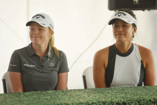 Stephanie Meadow, left, and Stephanie Kono, right, attend the LPGA Symetra Tour media briefing Monday, Aug 27, at Willow Run Golf Course in Sioux Falls.