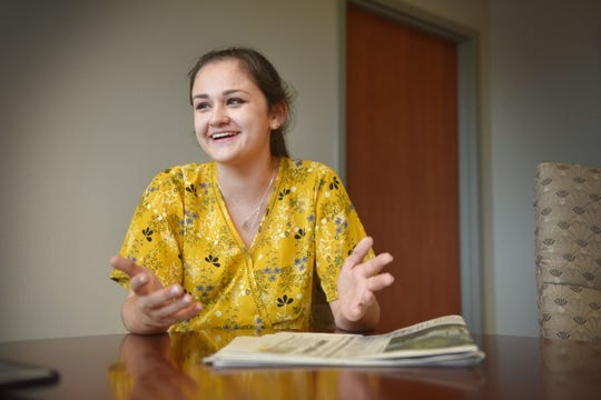 Tea Area High School senior Shaleigh Parker talks about the first time she started thinking about college in the sixth grade Monday, Aug 27, at Argus Leader Media in Sioux Falls.