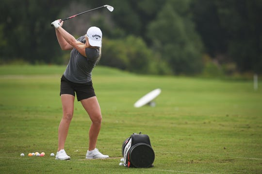 Stephanie Meadow golfs at Willow Run Golf Course after the LPGA Symetra Tour media briefing Monday, Aug 27, in Sioux Falls.