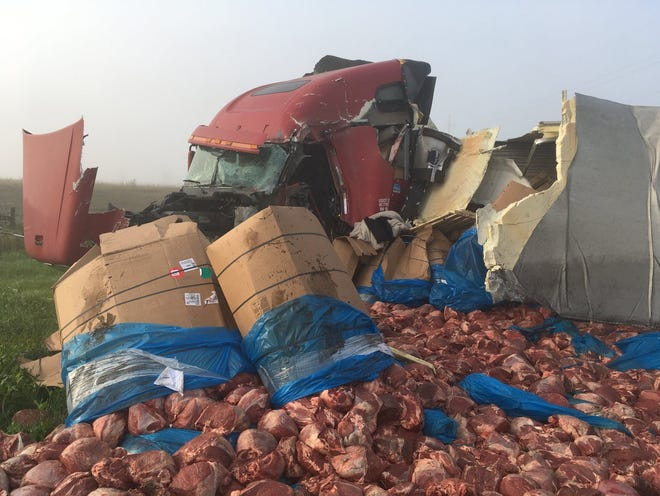 A Saturday morning crash in Roberts County sent 30,000 pounds of roast to the landfill.