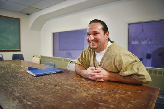Shawn Mousseau talks about how the inmates need more wood for their sweat lodge ceremonies Friday, Aug 24, at the South Dakota State Penitentiary in Sioux Falls.