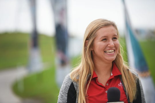 Kate Wynja talks about her expectations for the LPGA Symetra Tour after a media briefing Monday, Aug 27, at Willow Run Golf Course in Sioux Falls.