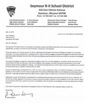 The letter from Seymour Superintendent Bruce Denney to Brian Wilbanks.