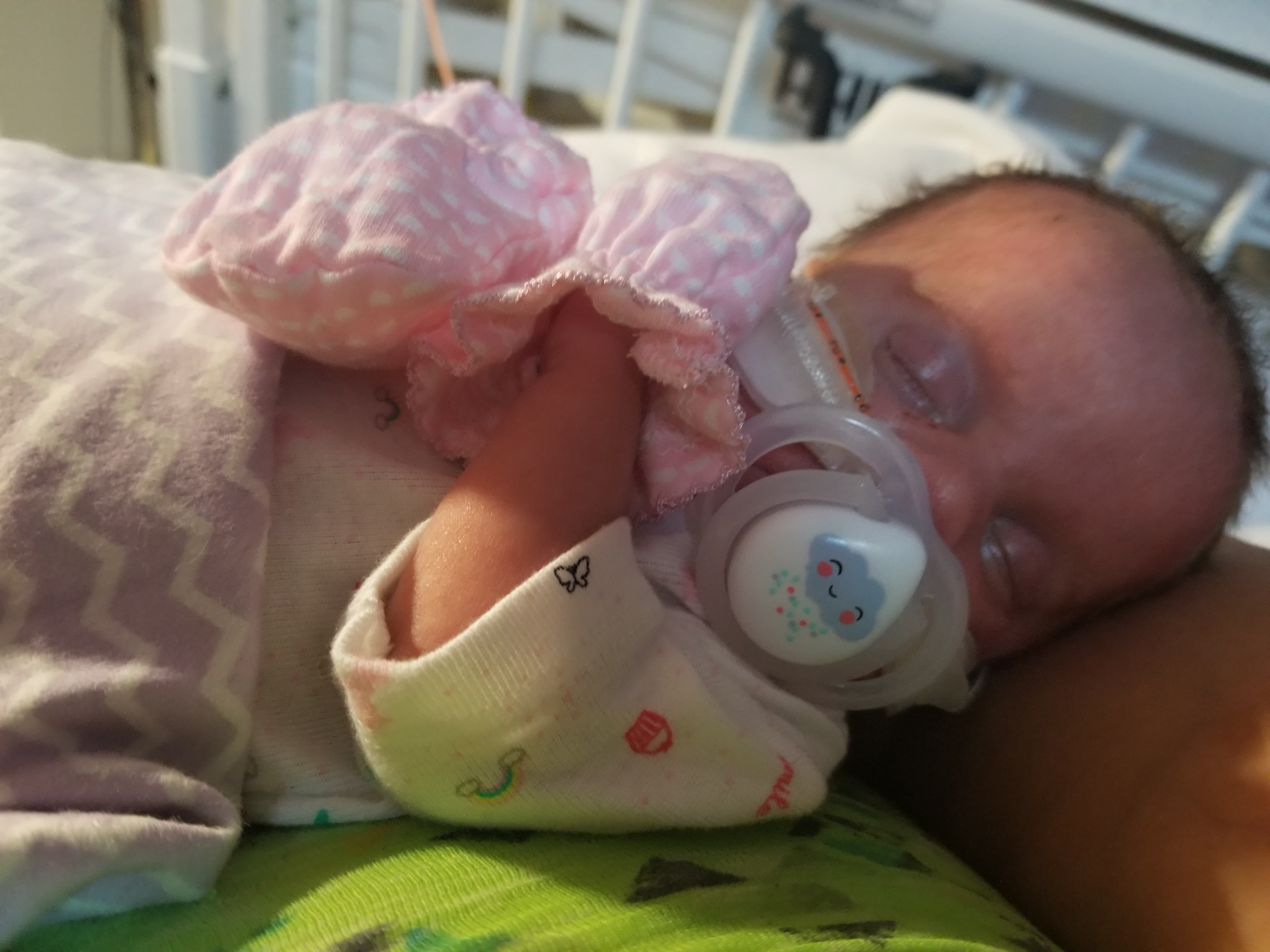 Staunton's Raven Diana Ivy Pritt was born on Aug. 9, 2018 at Augusta Medical Center. Here she is in her new mittens at University of Virginia Health System University Hospital NICU unit awaiting transfer to Children's Hospital of Philadelphia. Raven was born with the rare genetic disease Generalized Arterial Calcification of Infancy (GACI), which affects 1 in 391,000 babies.