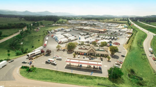 Aerial view of White's Travel Center in Raphine, Virginia.