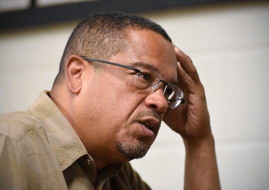 Attorney general candidate Rep. Keith Ellison talks with workers Monday, Aug. 27, at the St. Cloud Labor Home Local 623.