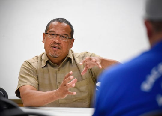 Minnesota Attorney General Keith Ellison, shown here in a visit last summer to St. Cloud, says high prescription drug prices are one of the chief complaints his office is getting.