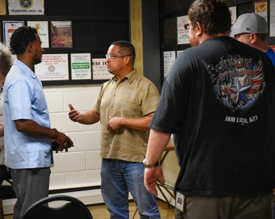 Attorney general candidate Rep. Keith Ellison talked with workers and answers questions Monday, Aug. 27, at the St. Cloud Labor Home Local 623.