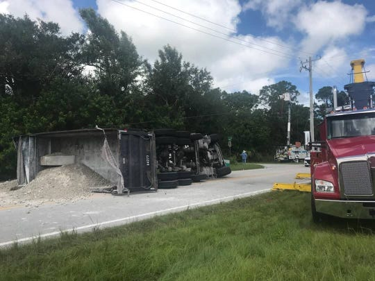 A dump truck overturned about 11 a.m. Monday in the 7300 block of 66th Avenue.