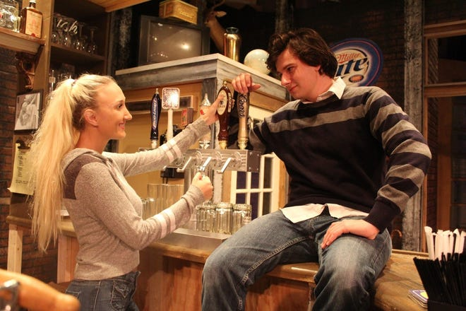 """Chelsea and Brendan Wenger (Janet and Adam) discuss their upcoming wedding plans. Both are in Vero Beach Theatre Guild's """"Yankee Tavern."""""""