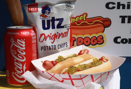 An order from the food truck on Old Nyack Turnpike in Nanuet on Aug. 27, 2018 is a great place to get a cheap lunch on the run for only $5 with 2 hotdogs, chip and drink.