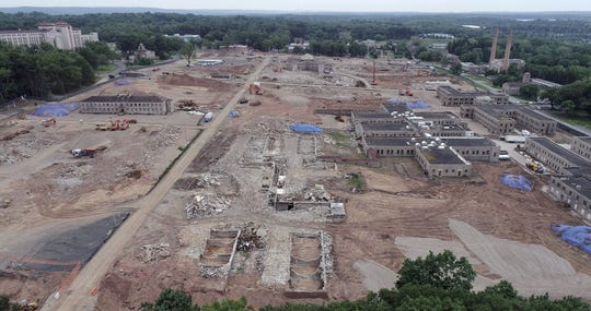 Drone view of demolition at the Rockland Psychiatric Center in Orangeburg May 28, 2018.