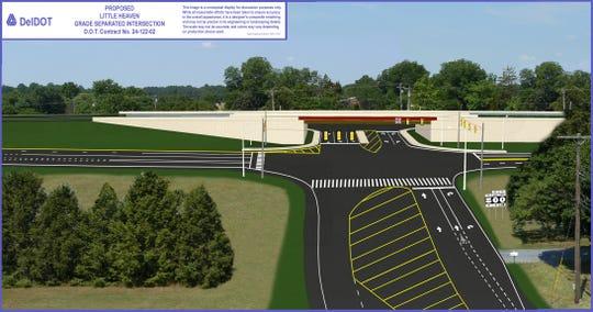 An artist rendering shows how a Del. 1 interchange in Little Heaven will look when complete.