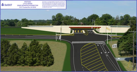 An artist rendering shows how a Del. 1 interchange in Little Heaven will look when complete.