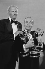 "Harvey Korman and Tim Conway show off three Emmy Awards they won for ""The Carol Burnett Show"" in September 1978. Korman won a total of seven Emmys for ""Burnett,"" Conway won four."