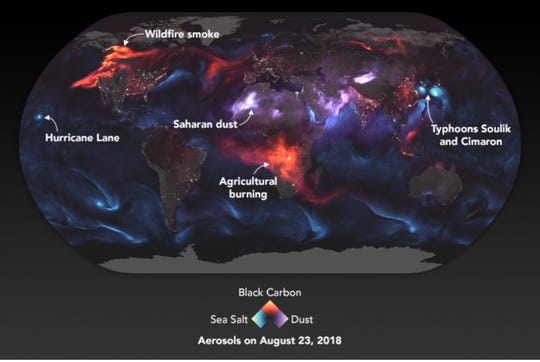 A NASA visualization showing aerosol-related events around the world on August 23.